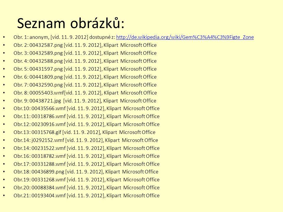 Seznam obrázků: Obr. 1: anonym, [vid. 11. 9. 2012] dostupné z: http://de.wikipedia.org/wiki/Gem%C3%A4%C3%9Figte_Zone.